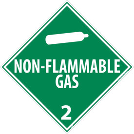 "Non-Flammable Gas 2 Placard Sign - Aris Industrial green diamond shape DOT Placard with the words ""NON-FLAMMABLE GAS 2"" In white text beneath non-flammable tank symbol."