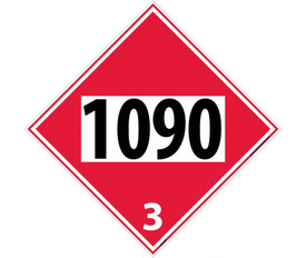 "DOT 1090 3 Red Placard Sign - Aris Industrial Red diamond shape DOT Placard with the numbers ""1090 3"" in black text"