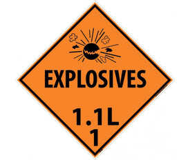"DOT Explosives 1.1L 1 Orange Placard Sign - Aris Industrial orange diamond DOT Placard with words ""EXPLOSIVES 1.1L 1"" In black text beneath the explosive symbol."