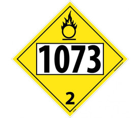 "DOT 1073 3 Yellow Placard Sign - Aris Industrial yellow diamond shape DOT Placard with the numbers ""1073 2"" in black text."