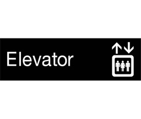 "Elevator Engraved 3x10 Graphic Wall Sign - Aris Industrial  Engraved Sign with word ""Elevator"" in white text on black background and graphic of elevator symbol with up and down arrows."