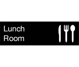 "Lunch Room Engraved 3x10 Wall Sign - Aris Industrial  Engraved Sign with words ""Lunch Room"" in white text on black background and graphic of knife, fork and spoon."