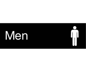 "Men 3x10 Engraved Symbol Door Sign - Aris Industrial  Engraved Men's Rest Room Sign with word ""Men"" in white text on black background and graphic of a man."
