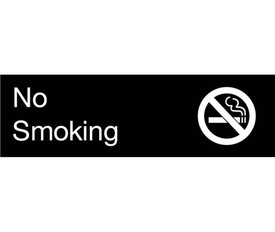 "No Smoking Engraved 3x10 Graphic Wall Sign - Aris Industrial  Engraved No Smoking Sign with words ""No Smoking"" in white text on black background and graphic of No Smoking Symbol."