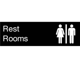 "Rest Rooms Engraved Symbol 3x10 Door Sign - Aris Industrial  Engraved Rest Room Sign with words ""Rest Rooms"" in white text on black background and male and female graphics."