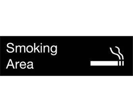 "Smoking Area Engraved Symbol 3x10 Wall Sign - Aris Industrial  Engraved Smoking Sign with word ""Smoking"" in white text on black background and graphic of cigarette burning."