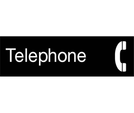 "Telephone 3x10 Symbol Engraved Sign - Aris Industrial  Engraved Telephone Sign with word ""Telephone"" in white text on black background and graphic of telephone receiver."