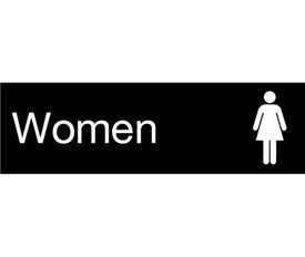 "Women Engraved 3x10 With Symbol Door Sign - Aris Industrial  Engraved Women's Rest Room Sign with words ""Women"" in white text on black background and graphic of female."