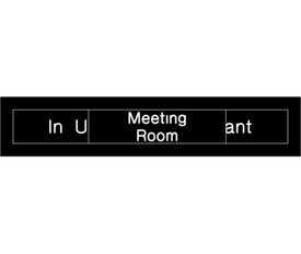 "Meeting Room in Use or Vacant Engraved Slide Door Sign - Aris Industrial  Engraved Meeting Room Sign with words ""In Use"" And ""Vacant"" in white text on black background and a black slider with the words ""Meeting Room"" to show only one choice."