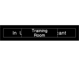 "Training Room In Use or Vacant Engraved Slide Door Sign - Aris Industrial  Engraved Training Room Sign with words ""In Use"" And ""Vacant"" in white text on black background and a black slider with the words ""Training Room"" to show only one choice."