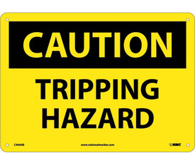 """Caution Tripping Hazard Sign - Aris Industrial Yellow square sign with the word """"CAUTION TRIPPING HAZARD"""" In black text .Four holes for post mounting"""