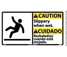 "Caution Slippery When Wet Bilingual Graphic Sign - Aris Industrial White square sign in English and Spanish with the word ""CAUTION SLIPPERY WHEN WET"" In black text and yellow caution background and has a graphic of a man falling backwards."