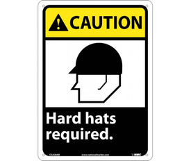 """Made in USA Hard Hats Required Caution Sign - Aris Industrial Black square sign with the  word """"CAUTION HARD HATS REQUIRED"""" In white text and yellow caution background with four holes for post mounting"""