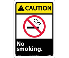 """No Smoking Graphic Caution Sign - Aris Industrial Black square sign with the word """"CAUTION NO SMOKING"""" In white text and yellow caution background with a no smoking symbol with four holes for post mounting and has no smoking symbol in middle of sign."""