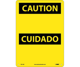 """Caution Bilingual Sign Made in USA - Aris Industrial Yellow rectangular English and Spanish sign with the words """"CAUTION"""" In yellow text. Black background behind caution text with four holes for post mounting."""