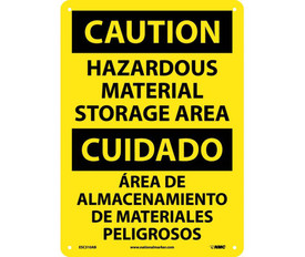 """Hazardous Material Storage Are Bilingual Caution Sign - Aris Industrial Yellow rectangular shape English and Spanish sign with the words """"CAUTION HAZARDOUS MATERIAL STORAGE AREA"""" In black text  with four small holes for post mounting."""
