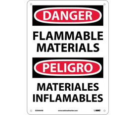 """Bilingual Danger Flammable Materials Sign - Aris Industrial White rectangular English and Spanish sign with the  words """"DANGER FLAMMABLE MATERIALS"""" Black text. Circular red background behind danger text with four holes for post mounting"""
