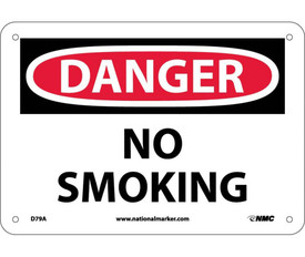"""Danger No Smoking Sign Made in USA - Aris Industrial White square sign with the words """"NO SMOKING"""" in black and white text. Circular red background behind danger text."""