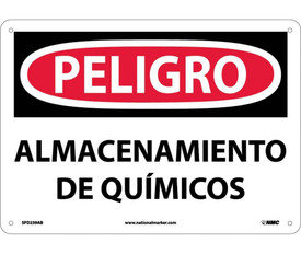 """Chemical Storage Area Danger 10x14 Spanish Sign - Aris Industrial White rectangular sign with the Spanish words """"PELIGRO ALMACENAMIENTO DE QUIMICOS"""" In black text and red circular peligro background with four holes for post mounting."""