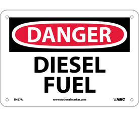"Diesel Fuel Aluminum Danger Sign - Aris Industrial White rectangular shape sign with the words ""DANGER, DIESEL FUEL"" IN WHITE AND BLACK TEXT. CIRCULAR RED BACKGROUND BEHIND DANGER with four small holes for post mounting."