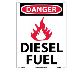 "Danger Diesel Fuel 10x14 Graphic Aluminum Sign - Aris Industrial White rectangular shape sign with the words ""DANGER DIESEL FUEL"" IN WHITE AND BLACK TEXT. CIRCULAR RED BACKGROUND BEHIND DANGER with four small holes for post mounting. Graphic of Flame between Danger and Diesel fuel."