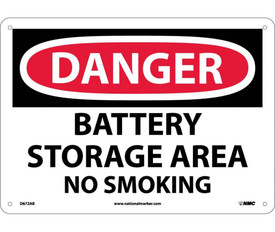 """Battery Storage Area No Smoking Danger 10x14 Sign - Aris Industrial White rectangular shape sign with the words """"DANGER BATTERY STORAGE AREA NO SMOKING"""" IN WHITE AND BLACK TEXT. CIRCULAR RED BACKGROUND BEHIND DANGER with four small holes for post mounting."""