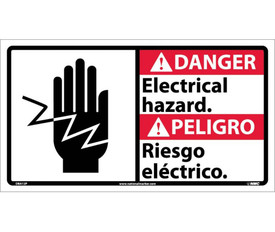 """Danger Electrical Hazard Graphic Bilingual 10x18 Sign - Aris Industrial White rectangular English and Spanish sign with the words """"DANGER ELECTRICAL HAZARD"""" IN BLACK AND WHITE TEXT. RED BACKGROUND BEHIND DANGER. Hand with electrical line going over hand on left side of sign."""
