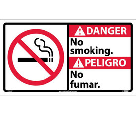 """Danger No Smoking 10x18 Graphic Bilingual Sign - Aris Industrial White rectangular English and Spanish sign with the words """"DANGER NO SMOKING"""" IN BLACK AND WHITE TEXT.RED BACKGROUND BEHIND DANGER and no smoking symbol on left side of sign."""