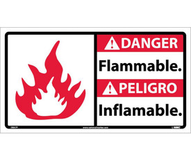 "Bilingual Danger Flammable 18x10 Vinyl Sign - Aris Industrial White rectangular English and Spanish sign with the words ""DANGER NO SMOKING"" IN BLACK AND WHITE TEXT.RED BACKGROUND BEHIND DANGER and graphic of red and white flame on left side of sign."