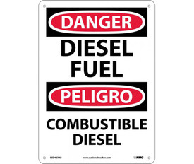 "Danger Diesel Fuel Bilingual 14x10 Sign - Aris Industrial White rectangular English and Spanish sign with the  words ""DANGER DIESEL FUEL"" Black text. Circular red background behind danger text with four holes for post mounting"