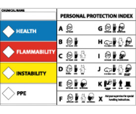 "Right To Know PPE Index Label - Aris Industrial white Right To Know Label Equipment Label with the word ""HEALTH"" on blue background and white diamond to the left, the word ""FLAMMABILITY"" on red background  and white diamond to the left,, the word ""INSTABILITY"" on yellow background and white diamond to the left,, and the word ""PPE"" on white background and white diamond to the left. Right side of sheet lists Personal Protection Index."