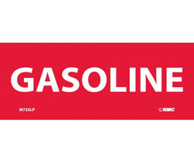 "Gasoline Laminated Adhesive 2x5 Label - Aris Industrial Red rectangular Label with a word ""GASOLINE"" in white text"