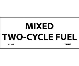 "Mixed Two-Cycle Fuel Adhesive 2x5 Label - Aris Industrial White rectangular Label with the words ""MIXED TWO-CYCLE FUEL"" in black text."