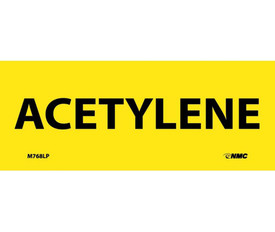 "Acetylene 2x5 Laminated Hazmat Label - Aris Industrial Yellow rectangular Label with the words ""ACETYLENE"" in black text"