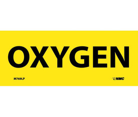 "Oxygen 2x5 Laminated Hazmat Label - Aris Industrial Yellow rectangular Label with the words ""OXYGEN"" in black text."
