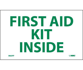 "First Aid Kit Inside Label - Aris Industrial White Label with the words ""FIRST AID KIT INSIDE"" in green text."
