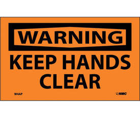 "Keep Hands Clear Warning Label - Aris Industrial Orange warning label with the words ""WARNING KEEP HANDS CLEAR"" in black text."