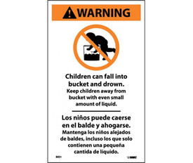 "Warning Infant Drowning Bilingual Label - Aris Industrial English and Spanish Warning Label with the words ""CHILDREN CAN FALL INTO BUCKET AND DROWN, KEEP CHILDREN AWAY FROM BUCKET EVEN SMALL AMOUNT WITH LIQUID"""