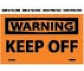 "Keep Off Warning Label - Aris Industrial Orange warning label with the words ""WARNING KEEP OFF"" Black text."