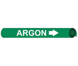 Argon Pipe Marker Precoiled White on Green - Argon Pipe Marker Precoiled White text on Green