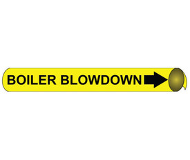 Boiler Blowdown Pipe Marker Precoiled Black on Yellow - Boiler Blowdown Pipe Marker Precoiled Black text on Yellow