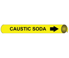 Caustic Soda Pipe Marker Precoiled Black On Yellow - Caustic Soda Pipe Marker Precoiled Black text on Yellow