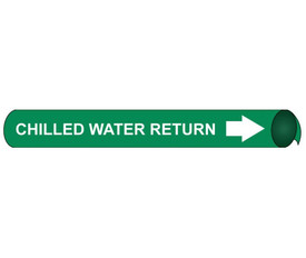 Chilled Water Return Pipe Marker Precoiled White on Green - Chilled Water Return Pipe Marker Precoiled White text on Green