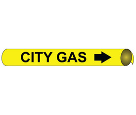 City Gas Precoiled And Strap On Pipe Marker Black On Yellow - City Gas Pipe Marker Precoiled & Strap on Black text on Yellow
