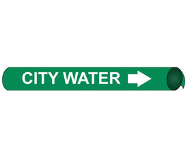 City Water Precoiled And Strap On Pipe Marker White On Green - City Water Pipe Marker Precoiled & Strap on White text on Green