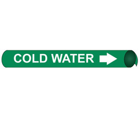 Cold Water Precoiled And Strap On Pipe Marker White On Green - Cold Water Pipe Marker Precoiled & Strap on White text on Green