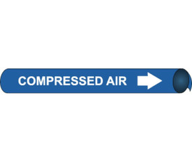 Compressed Air Precoiled & Strap On Pipe Marker White Blue - Compressed Air Pipe Marker Precoiled & Strap on White text on Blue