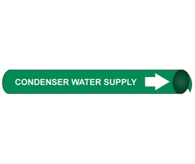 Condenser Water Supply Pipe Marker Precoiled White On Green - Condenser Water Supply Pipe Marker Precoiled, White text on Green