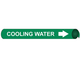 Made in USA Cooling Water Precoiled Pipe Marker - Cooling Water Pipe Marker Precoiled, White text on Green