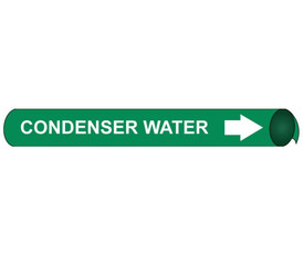 Made in USA Condenser Water Pipe Marker Precoiled - Condenser Water Pipe Marker Precoiled, White text on Green